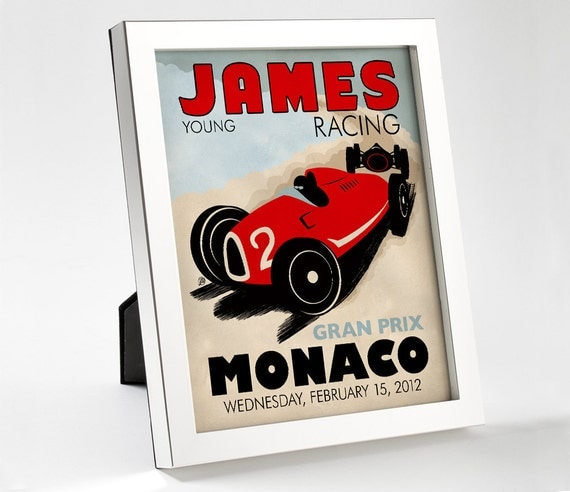 Custom Retro Racing Poster - 8x10 - Printable Digital File