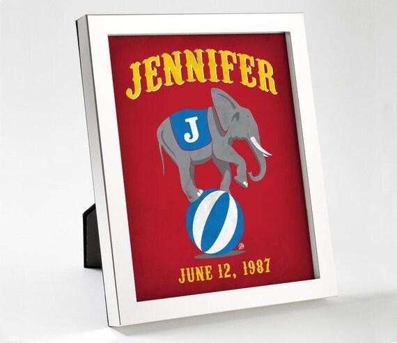 Custom Retro Circus Elephant Poster - 8x10 - Printable Digital File