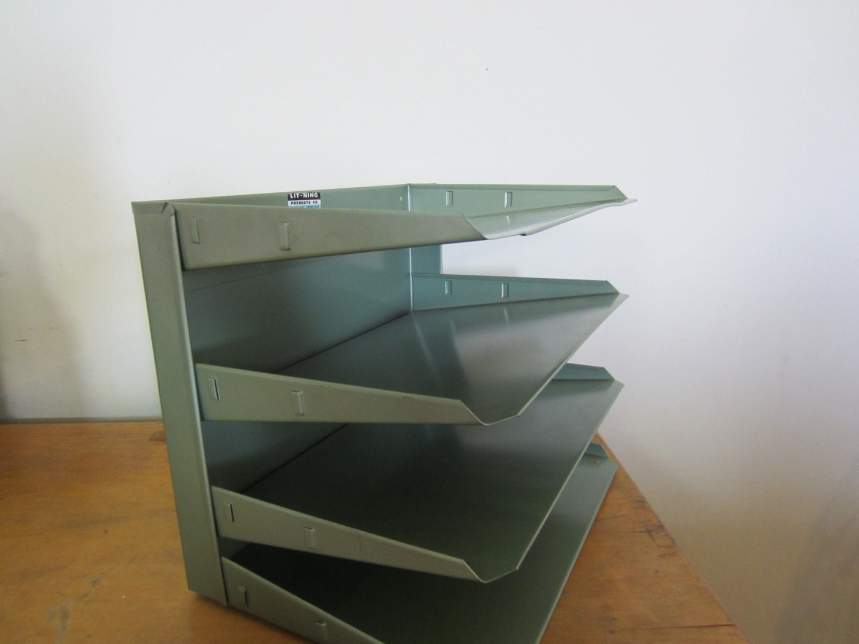 Vintage Metal Green Four Tier Paper Filer Horizontal Tray Desk