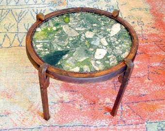 Iron End Table - Stone Top