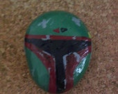 boba fett painted rock