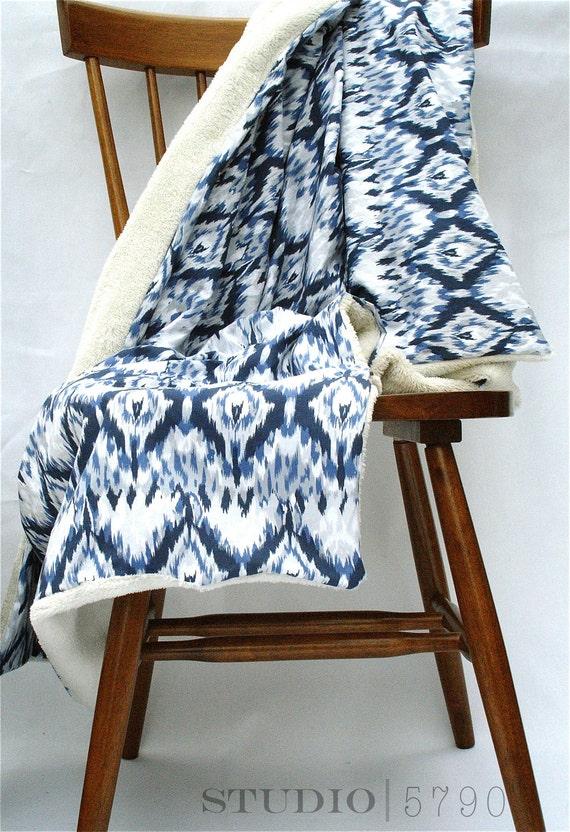 Blue Ikat Throw Blanket