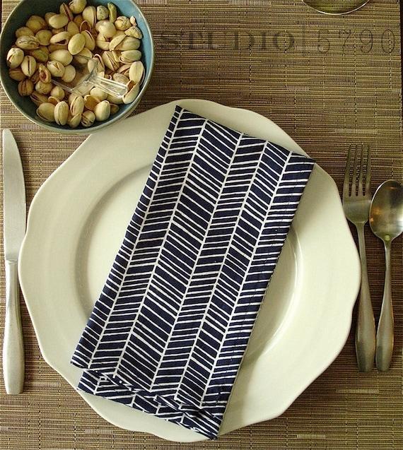 "Blue Chevron Cloth Dinner Napkins 19.5"" square-- set of 4"