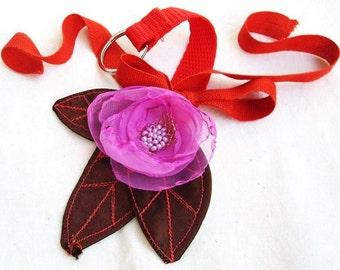 Bag Charm Key Chain Key Ring Fuchsia Hot Pink Organza Flower Bridesmaid Gift  Bronze Taffeta Metallic Leaves - OOAK -by Fairytale Flower