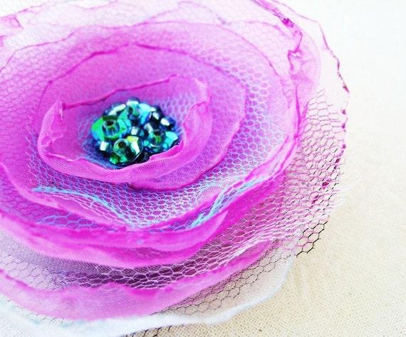 Fuschia Pink Organza Flower Brooch Pin with Persian Green Irridescent Centre by Fairytale Flower