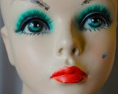 RESERVED for LAPISLOOM Mannequin Display Head Bust Vintage 1950s Beautiful Green Eyes
