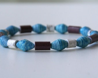blue, brown and cream print paper bead stretch bracelet