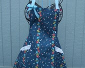 Sweet Floral Stripe With Blue Background Womens Flare Apron