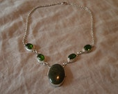 Sterling Silver and Green Stone Necklace