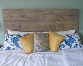 Queen Headboard rustic wood beachy washed gray