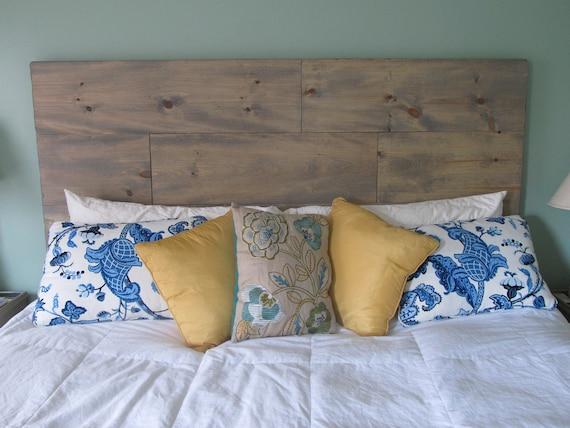 Queen Headboard rustic wood beachy washed gray