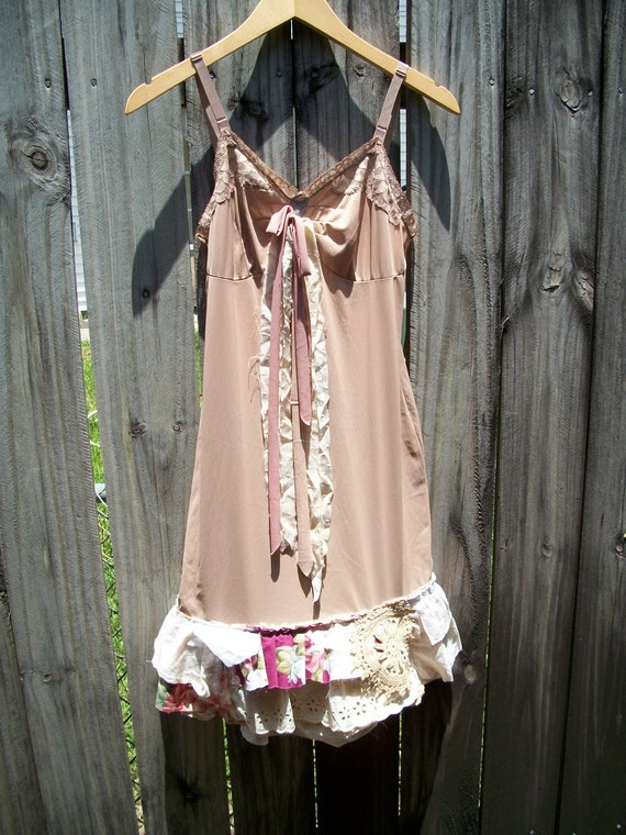 Upcycle-Recycle-SHabby Chic-Boho-Babydoll-cottage-Boho-Tattered--Slip Dress