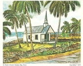 Vintage Hawaiian Print St Peter's Church, Kahaluu Bay, Kona by Artist Guy Buffet 1979