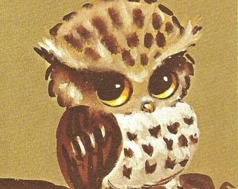 "Owl Watercolor 8"" x 10"" print by Lois Mae Thayer (1915-2008) UNFRAMED"