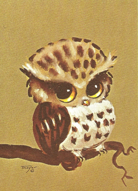 """Owl Watercolor 8"""" x 10"""" print by Lois Mae Thayer (1915-2008) UNFRAMED"""