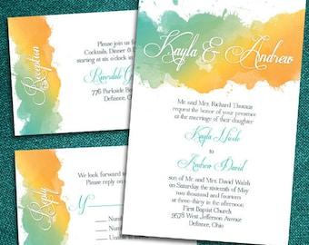 Custom Watercolor Wedding Invitations