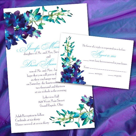 Custom Blue Orchid Wedding Invitations