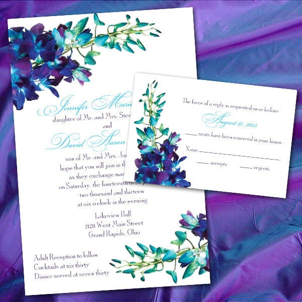 Custom Blue Orchid Wedding Invitations
