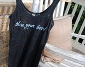 "Vintage Style Women's Black ""Bless Your Heart."" Burnout Tank"