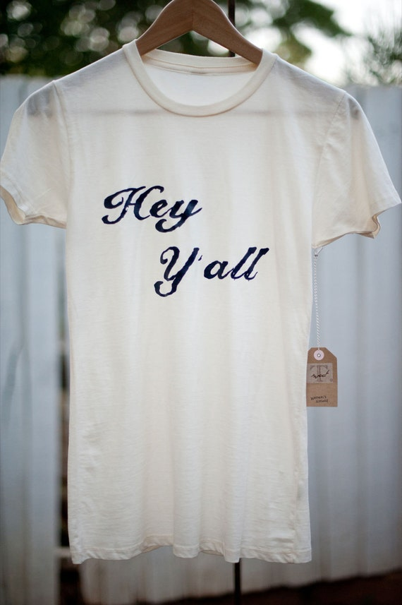 "Vintage Style Women's Cream/Ivory ""Hey Y'all"" Tee 4th of July"
