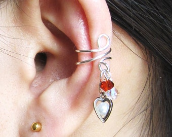 Valentine's Day, Heart Ear Cuff, Crystal Heart Pearl Earring, No Piercing Earring, Hypoallergenic Earring, Swarovski Earring