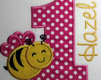 Girls Personalized First Birthday Bumble Bee Shirt.  SHORT SLEEVES, Hot pink polka dots