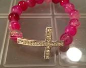 Pink beaded Cross bracelet