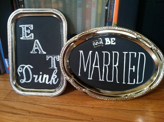Set of two mini chalkboard platters, perfect wedding decoration - 'Eat drink and be married'