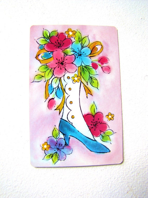 VINTAGE PLAYING CARDS 2 Full Sets Girly Pink and Blue Shabby Chic Shoes & Umbrellas