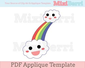 Applique Template Happy Rainbow PDF