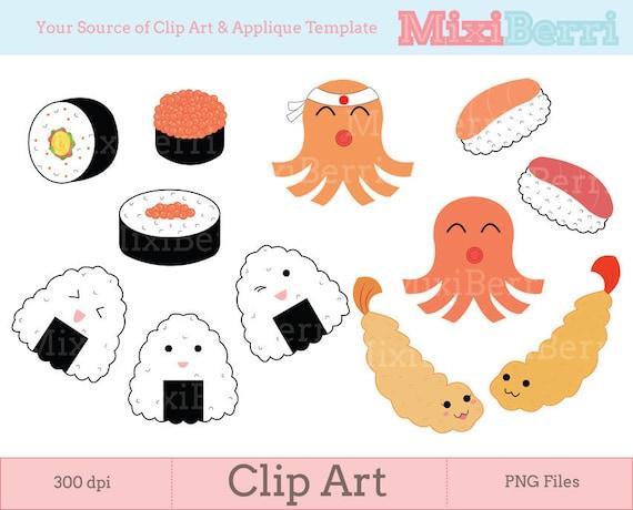 Digital Clip Art - Japanese Bento Food - 300dpi Instant Download