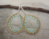 Sterling silver hammered earrings/ Sterling silver handmade/ Czech glassearrings/dangle earrings