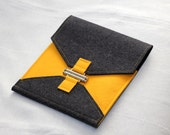 Wool Felt iPad Case in Charcoal Gray & Sunflower Yellow