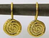 14K Gold Ethnic Spiral Earrings