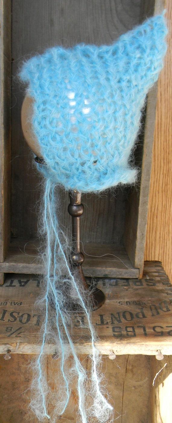 Hand Knit Blue Dainty Newborn Pixie Hat