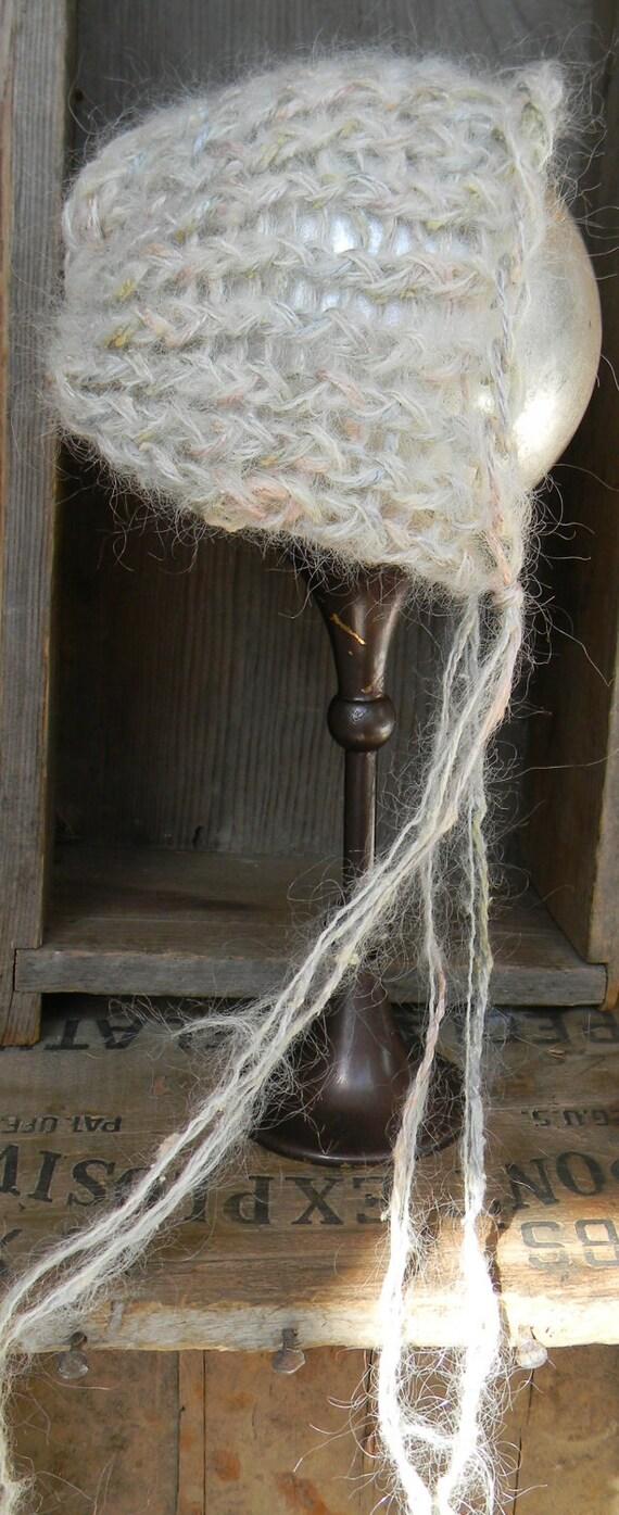 Hand Knit Vintage Style Newborn Bonnet
