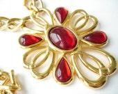 Napier Goldtone Red Cabochon Medallion Necklace