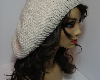 Ivory Super Soft Washable Merino Wool Seed Stitch Slouchy Tam Hat
