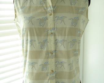 """Vintage Western Wear Tan Beige Running Ponies Shirt 38"""" Bust"""