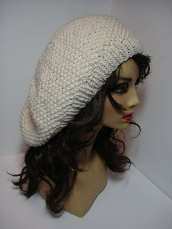 Ivory Super Soft Washable Merino Wool Seed Stitch Slouchy Tam Hat