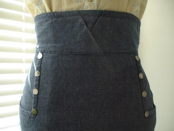 Retro High Waist Denim Stretch Pencil Skirt