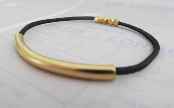 Back Elastic Bracelet with18k Gold-Plated Tubing and Faceted Beads