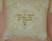 Wedding Ring Bearer Pillow Personalised Ivory or White Charlotte