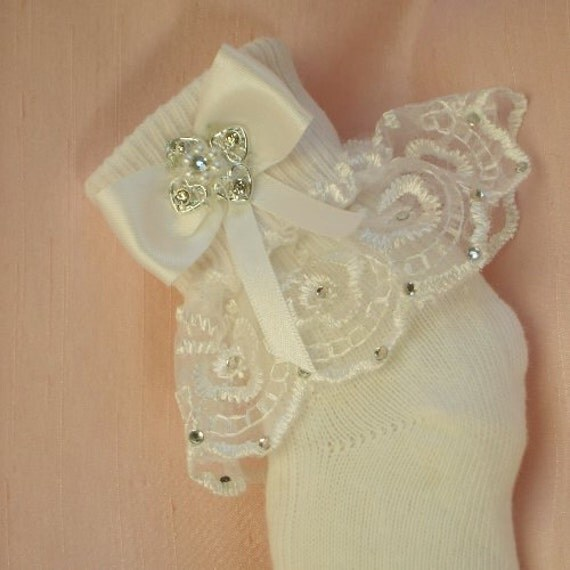 Christening Baby Socks - Heart Diamante Trim - Ivory or White Bows - 'Alicia