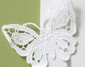 Handmade embroidered butterfly WHITE ornament stylish house decor rustic ornament