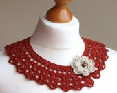 Retro FASHION Handmade crocheted collar terracotta red with flower brooch detachable collar vintage inspired