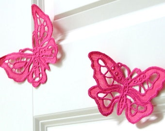 Handmade embroidered butterfly pink ornament stylish house decor set of two