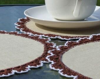 Handmade crocheted napkins set of 6 napkins
