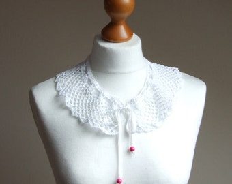 Peter Pan COLLAR Handmade crocheted collar WHITE with white ribbon peter pan collar