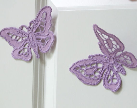 Handmade embroidered butterfly ornament, stylish home decor, set of two